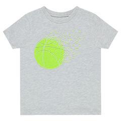 Camiseta de manga corta con estampado de pelota de tenis de goma