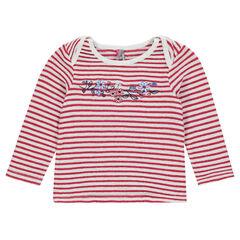 Camiseta de manga larga de rayas de jacquard con efecto de encaje.