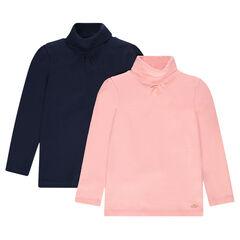Júnior - Juego de 2 camisetas lisas de cuello alto