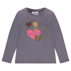 Camiseta con estampado de los Looney Tunes y corazones de lentejuelas mágicas