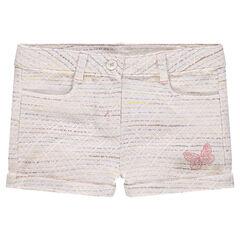 Pantalón corto de algodón de efecto tweed con mariposa bordada