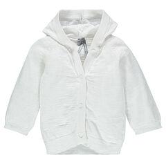 Chaqueta con capucha de tricot slub lisa