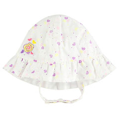 Gorro Charlotte de algodón con flor bordada con estampado de corazón