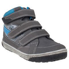 Zapatillas de deporte de caña alta con velcro de aspecto cuero