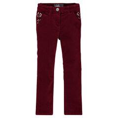 Pantalón slim de terciopelo con bordados ikat