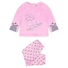 Pijama largo de terciopelo con gato bordado y abertura adaptada a la edad