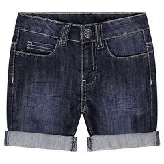 Bermuda efecto usado y efecto crinkle de jean
