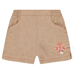Pantalón corto de algodón de fantasía con bordados y pompones