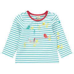 Camiseta manga larga con rayas con pompones con estampado de pájaro