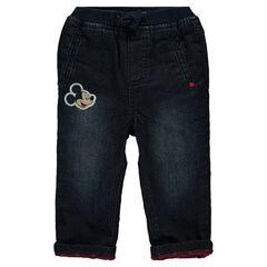 Jeans efecto usado con forro de tejido de punto Mickey Disney