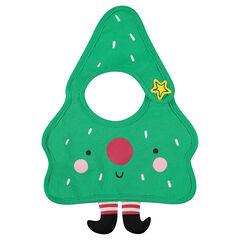 Babero de punto con forma de arbol de navidad