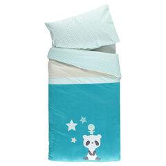 Lote de funda nórdica y funda para almohada con pandas con bordado