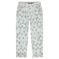 Pantalón amplio de muletón jacquard con estampado gráfico