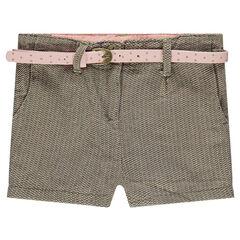 Pantalón chino de tweed con cinturón desmontable