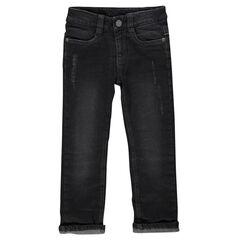 Jeans de corte recto efecto usado con forro de tejido de punto