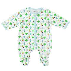 Conjunto de pijama para bebé con estampado de cactus all-over y gorro