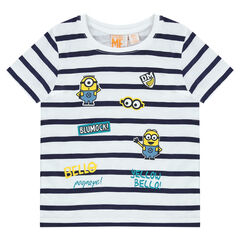 Camiseta de manga corta a rayas con estampado de Minions