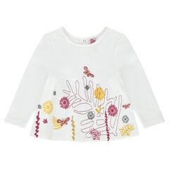Camiseta de manga larga con flores bordadas