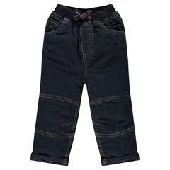 Jeans con forro de franela con estrella con bordado