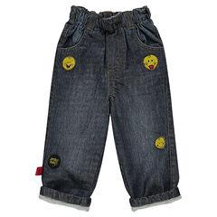 Jeans efecto usado y efecto crinkle con detalles