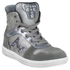 Zapatillas de deporte de caña alta de color plateado cierre de cremallera y con cordones