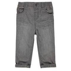 Jeans de corte recto efecto usado y efecto crinkle