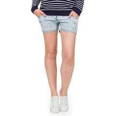 Pantalón corto vaquero de embarazo con banda en la parte superior y efecto gastado de fantasía
