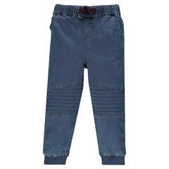 Pantalón de chándal efecto jeans combinación de sobrecosturas en las rodillas