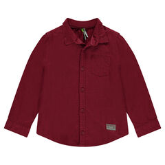 Camisa de manga larga burdeos con bolsillo