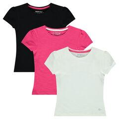 Júnior - Pack de 3 camisetas de manga corta lisas