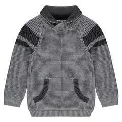 Jersey de punto de manga larga con bolsillo de canguro