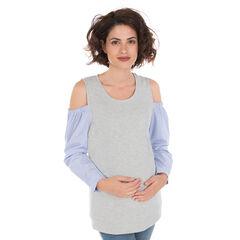 Camiseta de manga larga, efecto 2 en 1 con hombros al aire