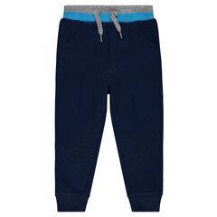 Pantalón de jogging de muletón liso con juego de cortes