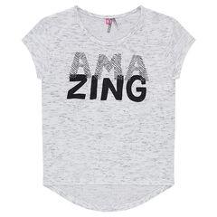Júnior - Camiseta de punto con efecto slub y mensaje estampado