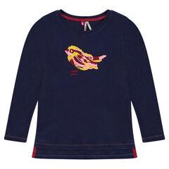 Camiseta de canalé con bordado de pájaro