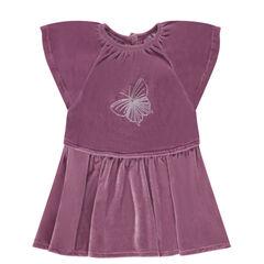 Vestido de manga corta de pana de terciopelo con mariposa bordada