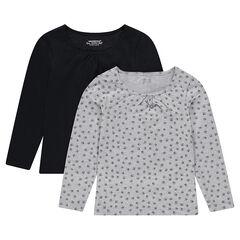 Júnior - Pack de 2 camisetas de manga larga lisa/estampada
