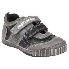 Zapatillas de deporte de aspecto cuero de cañas bajas con velcro