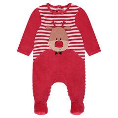 Pijama de terciopelo de Navidad con alce bordado