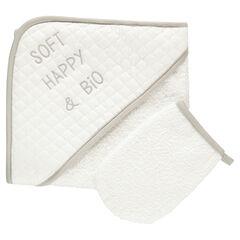 Set de baño capa de baño y guante de aseo de rizo de algodón