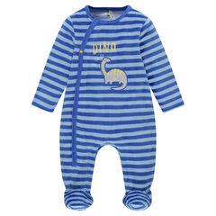 Pijama de terciopelo a rayas con insignia de dinosaurio