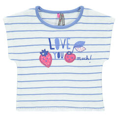Camiseta de manga corta a rayas con apliques y flecos