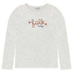Júnior - Camiseta de punto slub con bordados de cuerda