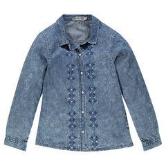 Camisa de jean con bordado