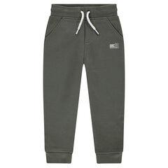 Pantalón de chándal de felpa jaspeada con logo estampado
