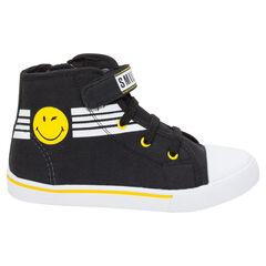 Zapatillas deportivas altas de tela con cordones y velcro ©Smiley