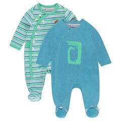 Lote de 2 pijamas de terciopelo de rayas/liso con estampado