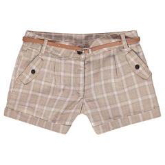 Júnior - Pantalón corto de cuadros y cinturón de cuero de imitación