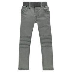 Jeans slim efecto crinkle combinación de cortes con pespunte