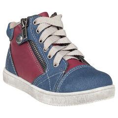 Botas bajas con cordones de jean bicolor con cremallera